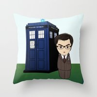 dr who Throw Pillows featuring Kokeshi Dr. Who by Pendientera