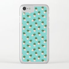 Cute Cactus Turquoise Pattern Clear iPhone Case