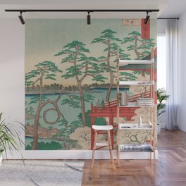 Spring Blossoms and Pond Ukiyo-e Japanese Art Wall Mural