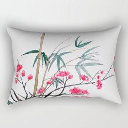 bamboo and red plum flowers Rectangular Pillow