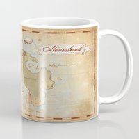 neverland Mugs featuring Map of Neverland by Kaz Palladino