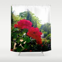 switzerland Shower Curtains featuring Flowers in Switzerland by Heather Hartley