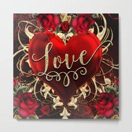 Gold Love Heart & Red Roses Metal Print