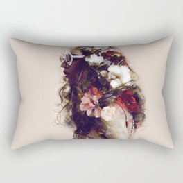 The girl with the flowers in her hair Rectangular Pillow