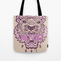 kenzo Tote Bags featuring KENZO Tiger, pink  by cvrcak