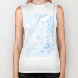 White Marble with Pastel Blue Purple Teal Glitter Biker Tank