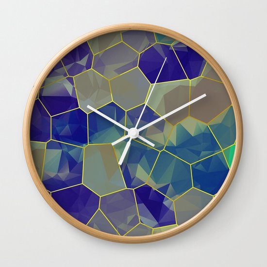 Stained Glass Polygons Wall Clock
