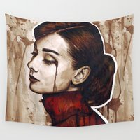 audrey Wall Tapestries featuring Audrey  by Olechka
