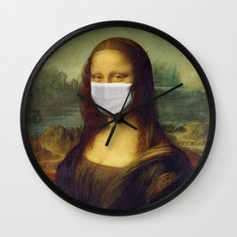 Mona Lisa with Respirator Mask Wall Clock