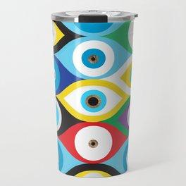 Colorful Evil Eye protection pattern Travel Mug