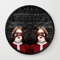 third eye Wall Clocks featuring Third Eye by elle moss