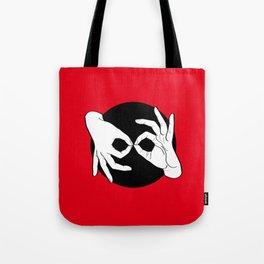 Sign Language (ASL) Interpreter – White on Black 01 Tote Bag
