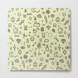 Doodles Pattern Metal Print