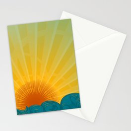 Vintage Ocean Sunset Stationery Cards