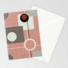Orbs & Squares Pink Stationery Cards