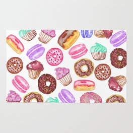 Yummy Hand Painted Watercolor Desserts Rug