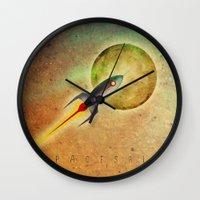 spaceship Wall Clocks featuring SPACESHIP by Oscar Civit