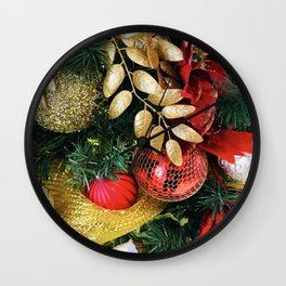 Christmas Tree Decorations in Glitzy Red and Gold Wall Clock