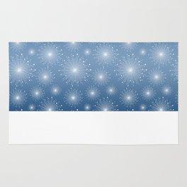 Dusty Blue Gradient, White Sparkle Starbursts Rug