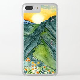 Watercolor Mountain Range Clear iPhone Case