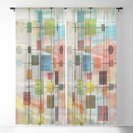 Mid-Century Modern Art 1.3 -  Graffiti Style Sheer Curtain