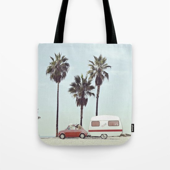 NEVER STOP EXPLORING - CAMPING PALM BEACH Tote Bag