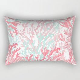 Modern hand painted coral pink teal reef coral floral Rectangular Pillow