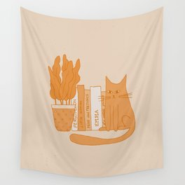 Cat, books and plants II Wall Tapestry