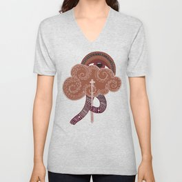 surreal creatue with cloud mask Unisex V-Neck