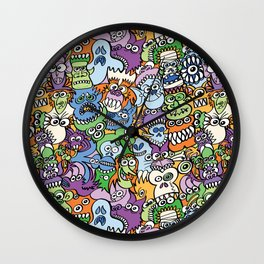 Halloween stars get crazy and hungry in a spooky pattern design Wall Clock