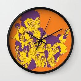 Groovy Singers - vintage mid century rocker hand drawn illustration  Wall Clock