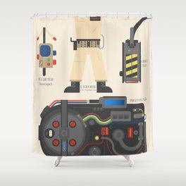 Ghostbusters movie poster, BIll Murray, Peter Venkman, Harold Ramis, proton pack, ghost trap Shower Curtain