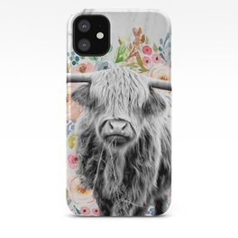 Highland Cow With Flowers on Marble Black and White iPhone Case