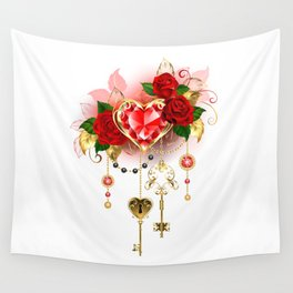 Ruby Heart with Roses Wall Tapestry