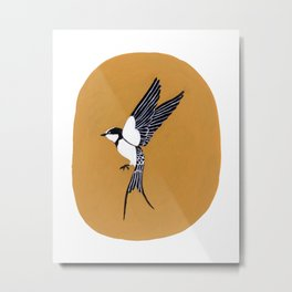 Swallow in Yellow Sky Metal Print