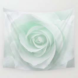 White Rose Minimalism | Mint Wall Tapestry