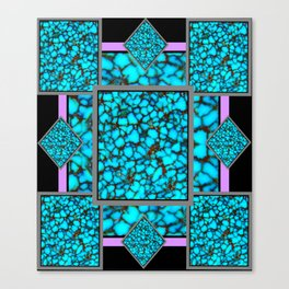Western  Black-Purple Turquois Birthstone  Inlay Design Canvas Print