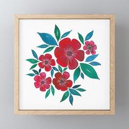 Red Flowers watercolor Framed Mini Art Print