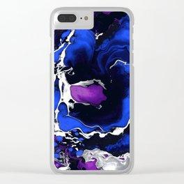 Deep ocean Marble aqrylic Liquid paint art Clear iPhone Case