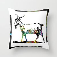goat Throw Pillows featuring Goat by LoRo  Art & Pictures