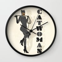 catwoman Wall Clocks featuring Catwoman by Lily's Factory