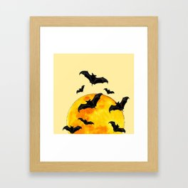 BLACK FLYING BATS FULL MOON ART Framed Art Print