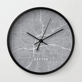 Dayton Map, Ohio USA - Pewter Wall Clock