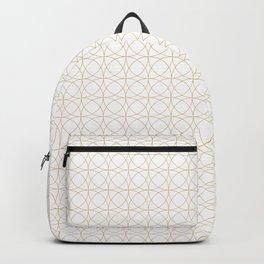 Modern Minimalist Sacred Geometric Circular Pattern in White and Gold Backpack