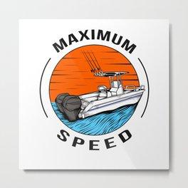 Speedboat Motorboat Racing Boat Captain Metal Print