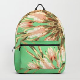 Golden era flower mandala green turquoise unique graphic design Backpack