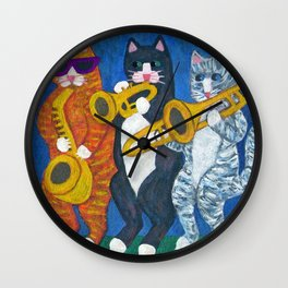 Salsa Cats Brass Section Wall Clock