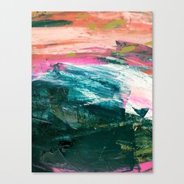 Meditate [4]: a vibrant, colorful abstract piece in bright green, teal, pink, orange, and white Canvas Print