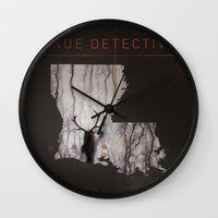 true detective Wall Clocks featuring True Detective Map by Roadtrippers