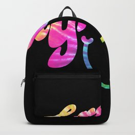 Groovy Smile // Tie-dye Black Fun Retro 70s Hippie Vibes Green Yellow Pink Lettering Typography Art Backpack